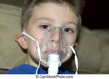 Oxygen Mask - Child Wearing a Oxygen Mask