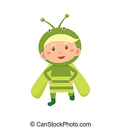 Child Wearing Costume of Grasshopper. Vector Illustration