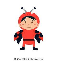 Child Wearing Costume of Ladybird. Vector Illustration - ...