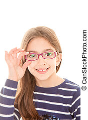 happy smiling child or kid wearing eye glasses