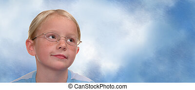 Child Wearing Glasses with Space for Copy