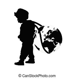 child wears planet earth illustration silhouette
