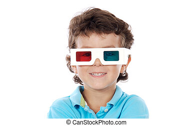 Child whit three dimensions glasses a over white background