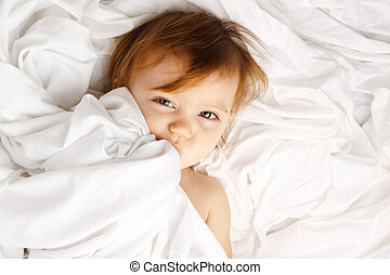 Child White Sheet Cover Lay