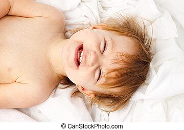Child White Sheet Laugh Lay