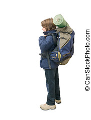 Child with a backpack ready for a trip