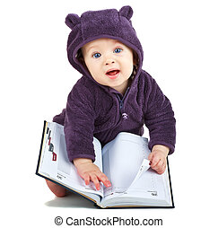 Child with a book on white background