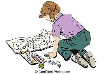 Child with a coloring book. Stock illustration.
