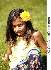 Child with a flower