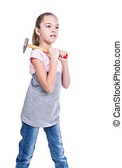Child with a hammer