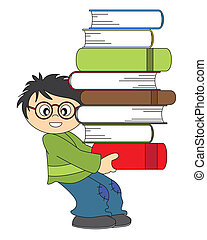 child with a lot of books. Funny picture with white ...