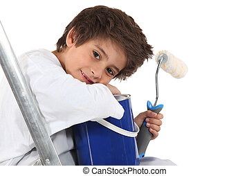Child with a paint pot and roller