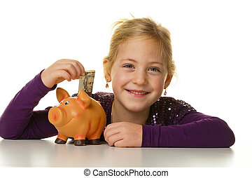 child with a piggy bank. dollar, save - a small child puts a...