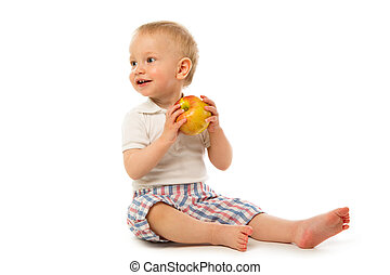 Child with a red apple
