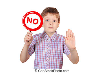 """Child with a sign prohibiting smoking, the concept of """"no smoking""""."""