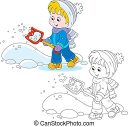 Child with a snow shovel - Little girl or boy removes snow...