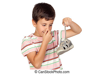 Child with a stuffy nose taking the sandal isolated on white background