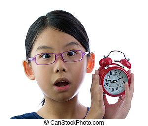 Child with alarm clock