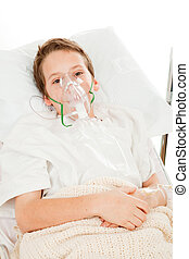 Child with Asthma - Sick little boy in the hospital...