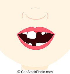 Child with baby tooth - Toothless child smiling and showing...