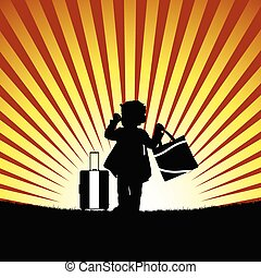 child with bag silhouette illustration