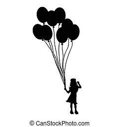 child with balloon silhouette illustration