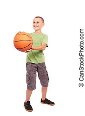 Child with basketball isolated on white background
