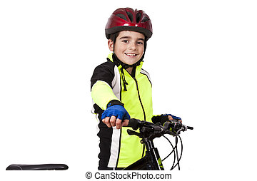 child with bicycle isolated on white background