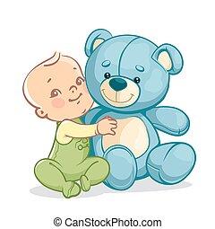 Child with big blue teddy bear