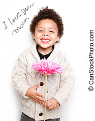 Child with big smile and big pink flower with I love mum message isolated on white background