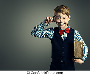 Child with Book and Magnifying Glass, School Kid Education, Happy Student Boy with Magnifier