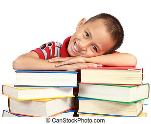 child with book isolated on white background