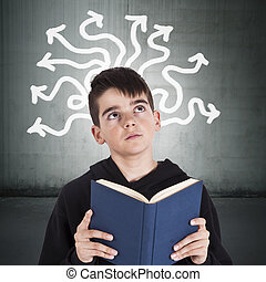 child with books and the concept of creativity