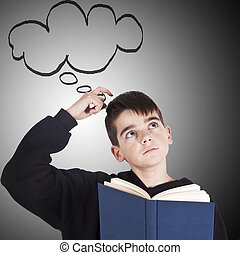 child with books and thinking expression