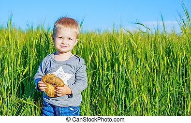 child with bread