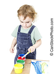 child with brush and paint in white background