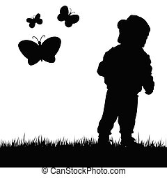 child with butterfly illustration in nature