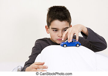 child with car