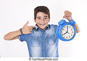 child with clock isolated on white background