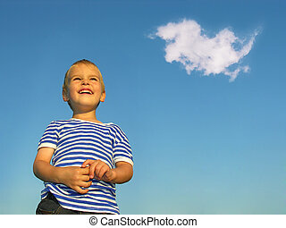 child with cloud