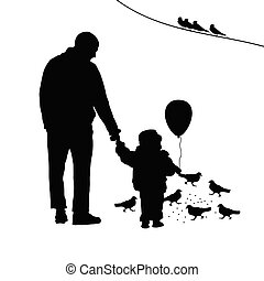 child with dad illustration silhouette - child with dad and...