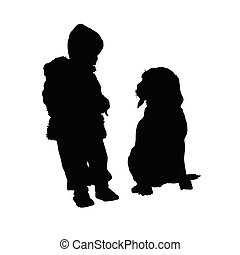 child with dog silhouette illustration