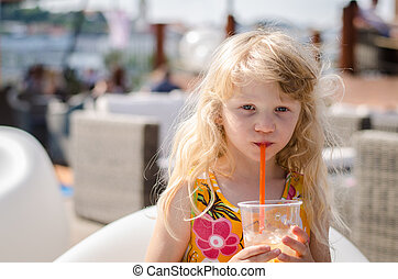 child with drink