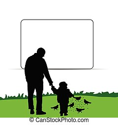 child with father illustration in nature