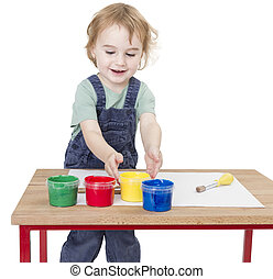 child with finger paint