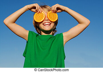 child with fruit, healthy diet concept