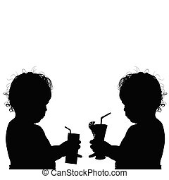 child with glasses silhouette illustration
