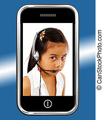 Child With Headset Talking Over Internet