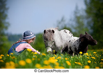 Child with horses in field