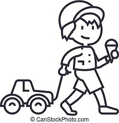 child with ice cream and car toy on rope vector line icon,...